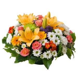 Multicoloured round funeral arrangement